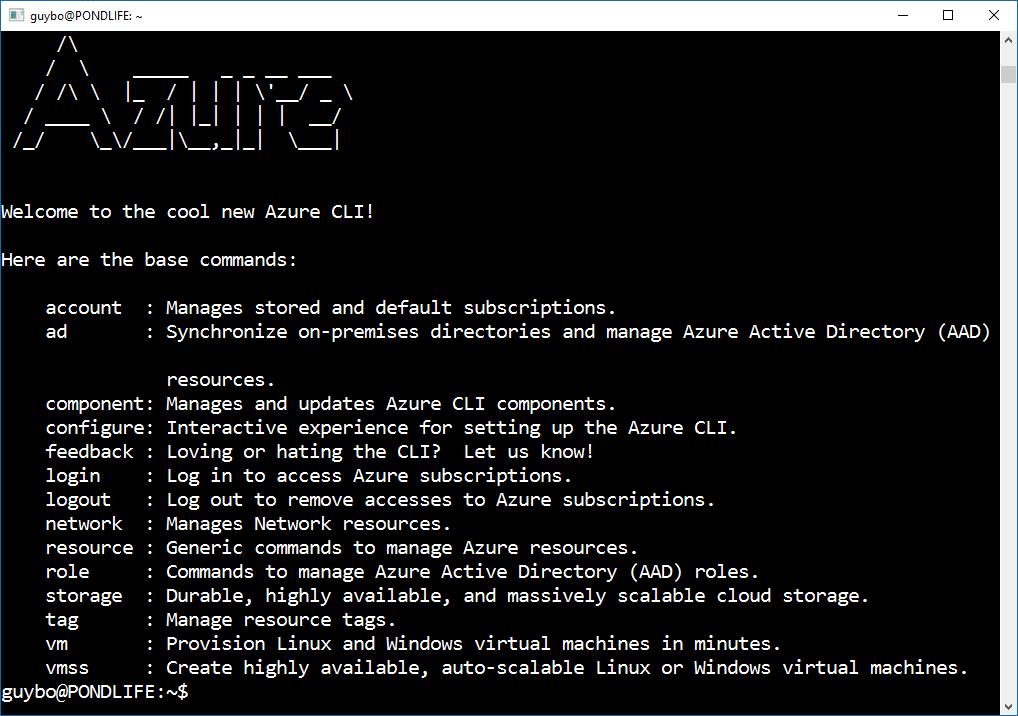 Install Azure CLI 2 0 on the Windows 10 bash on Ubuntu shell